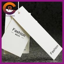 Wholesale Folded Custom Garment New Design Paper White Card Plastic Jeans hangtags label Clothing Hang Tag