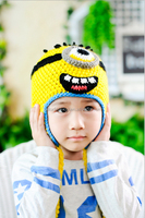 TF-04150819034 High quality Ear flap Children Hat handmade Despicable me minion Knitted crochet wool cute hat