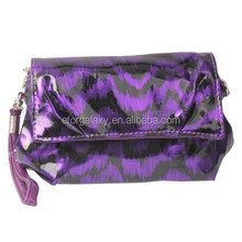 New product PU Feather Textures Cosmetic Bag for Women (Dark Purple)