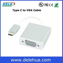 2015 New white color usb 3.1 type C male to VGA female adapter cable, usb to vga adapter, usb-c vga