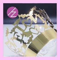 """"""" LOVE """" laser cut wed cake wrap pictures of baby shower cakes DG128"""