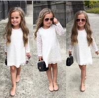 2015 KIDS GIRLS SUMMER LONG SLEEVED WHITE LACE DRESSES CHILDREN BOUTIQUE PRINCESS DRESSES
