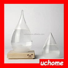 UCHOME NEW DESIGN red apple shape TEMPO Weather Forecast Glass Bottle with Base ( Big or Small )
