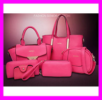 Hot-selling 6pcs elegant design leather woman bag new model purses and ladies handbags set HD4770
