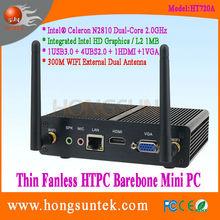HT720A Intel Celeron N2810 2Ghz Dual Core Fanless HTPC Case Barebone Mini PC, USB2.0, USB3.0, WiFi, VGA