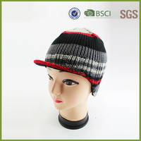 Fashion Multi-colors knitted hats beanie with front visor