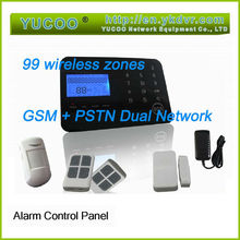 dual network GSM Pstn auto dial touch panel 99 zone security alarm