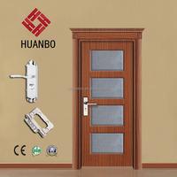 High quality best price interior door mdf pvc laminated economic glass doors for bathroom,washroom