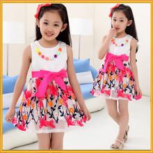 Hot selling Korean style kids beautiful model dresses children fancy dress girl mini summer dress