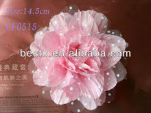 CF0515 Handmade pretty chic pink large silk lace fabric flower for baby