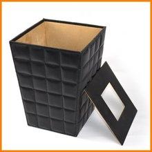 High fashion leather sheepskin grain bins creative floral tubular container with lid IKEA Continental Executive