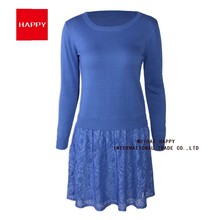 LACE COMBINATION KNITTED SWEATER LONG DRESS FOR WOMAN