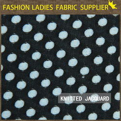 Black with white dots high end lurex jacquard brocade american knit fabric