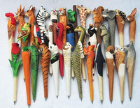 2015 stationery promotion in hand carved wooden animal pens ball pen