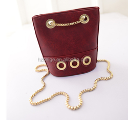 wholesale PU leather shoulder bag with metal chain for ladies
