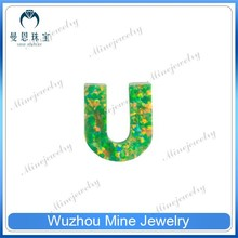 China Factory Supply Synthetic Opal Beads OP#21 Apple Green Letter U Shape Opal