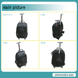 Promotional polyester cheap trolley backpack black trolley backpack with wheels