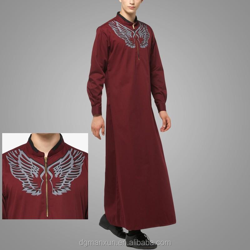 2016 Design Mens Islamic Thobe Saudi Style Robe Arab Sayyid Thobe Maroon (4).jpg