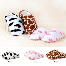 2015 New Autumn Winter Milk Cow Red Lips Coral Fleece Lovers Slippers at Home Cotton-padded Indoor Slippers