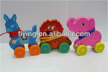 wooden pull toy, moving animal toy, out door toy