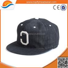 custom 6 panel denim material snapback caps / embroidery logo snapback hat