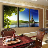 Eiffel Tower 3 Panels Building Green Canvas Print Painting Artwork Modern Home Wall Decor Painting Art HD Wall Picture Unframed