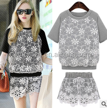 Z10072A 2015 SUMMER WOMEN'S O-NECK EMBROIDERED FASHIONABLE ORGANDY T-SHIRT+SHORTS SUITS