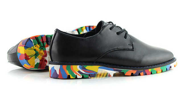 модные мужские новые британские мужчины досуг Хань издание цвета тенденция толстая платформа туфли оксфорды мокасины