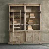 American and European rustic style furniture/vintage/rustic bookcase with ladder/bookshelf