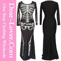 Wholesale Cheap Long Skeleton Dress Adult Halloween Costume Dropshipping