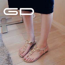 wholesale casual style beautiful girl shine rhinestone flat sandals shoes