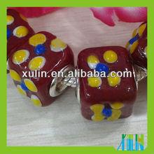handmade dark red dice single cupronickel plating silver murano beads