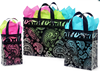 bold black paisley flourish frosted plastic shopping bags
