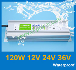Outdoor style 90-260v AC input 24 volt dc led power supply LED strip switching power supply 24v 120w, CE Rohs IP67, Free shipp