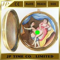 ANTIQUE ENAMEL CONCEALED SCENE GILT CASE VERGE FUSEE antique japan quartz vintage erotic pocket watch