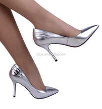 2015 fashion quality cowhide genuine leather high heel silver pictures of naked women sexy shoes high heels