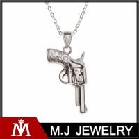 High Polish Silver Gun Pendant Necklace Men