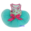 Aqua Blue Hot Pink Rose Flower Crystal Bow Party Dress Small Pet Dog Cat Clothes XS-L
