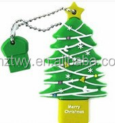 hot sales christmas tree promotion gift usb flash disk pvc usb flash drive
