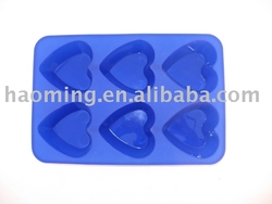 blue color heart shape 6 cups non-stick cake mould silicone cookware