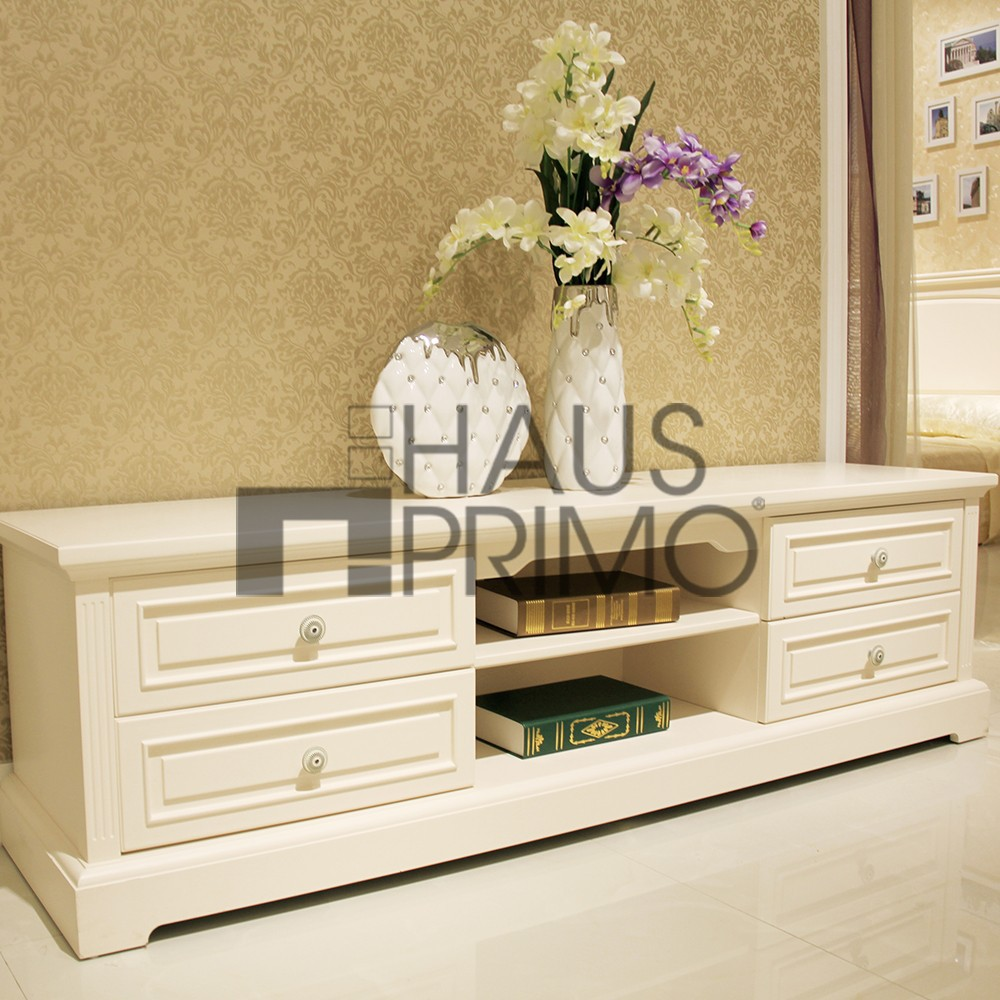 Living Room Furniture White Wooden Tv Stand With 4 Drawers Buy White Wooden Tv Stand Living