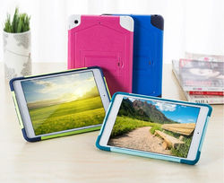 Luxury colorful stand holder cover case for iPad Mini 1 2 3, pc hard silicon cover case for iPad Mini 1 2 3