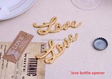 Romantic sliver and gold LOVE letter shape zinc alloy beer bottle opener for wedding gift