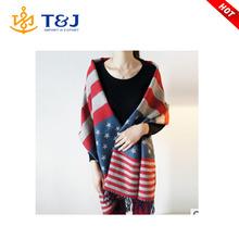 >>>American Flag Scarf Winter women cashmere scarves england pentagram striped large warm shawls top quality