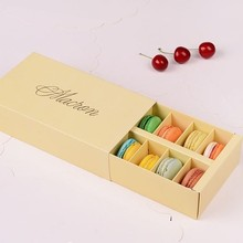 Free Fedex 12 tablets drawer bronzing macarons box chocolate biscuit muffin cake folding packed box wedding portable gift box