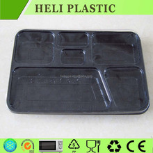 6 Compartments black color disposable plastic fast food tray