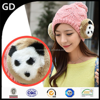 GDG1833 Soft feeling thick warm sexy girls knitted ladies winter hats with earfplap