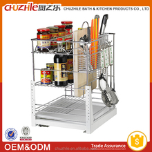 2015 China Supplier New Product Kitchen Cabinet Pull Out Basket , Wire Storage Basket in Chrome Plating with Slide