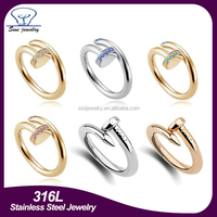 2015 hot sale Good quality nail finger ring women fashion new cheap gold stainless steel diamond ring jewelry