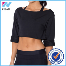 Yihao popular t-shirt 2015 Womens Printed tops Fitness Sports Gym Wear Loose custom Crop Top